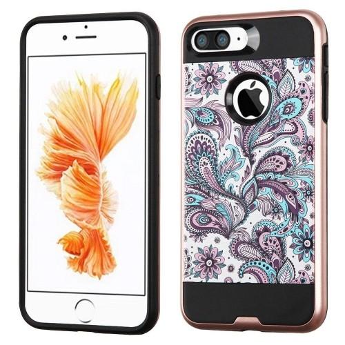Insten European Flowers Hard Hybrid Silicone Cover Case For Apple iPhone 7 Plus/8 Plus, Purple/White