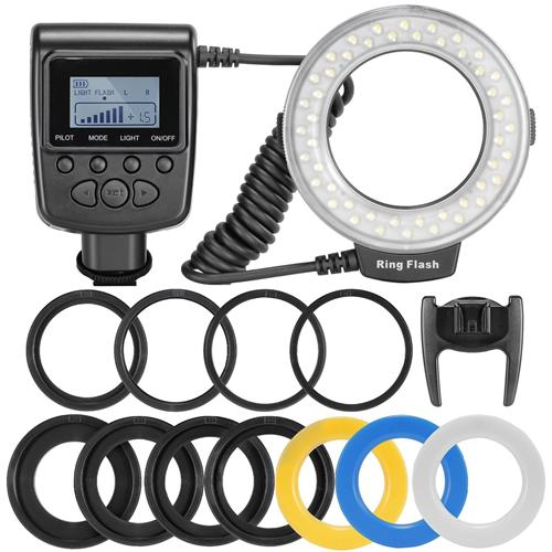 MegaPower 48 Macro LED Ring Flash Light Includes 4 Diffusers (Clear, Warming, Blue, White) For Canon, Nikon, Panasonic, Olympu