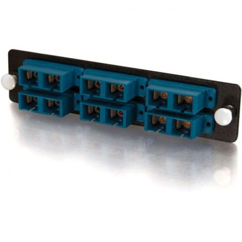 C2G Q-Series 12-Strand, SC Duplex, Zirconia Insert, SM, Blue SC Adapter Panel