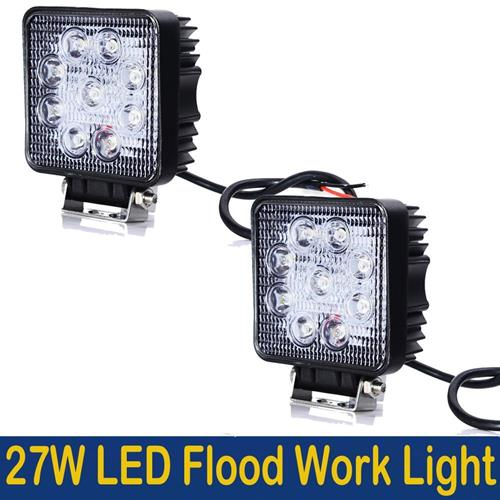 MegaPower (TM) 2PCS 27w 4 Inch Square Flood Light Led Work Off Road Fog Driving 4x4 Bumper Rock for 4x4 Jeep Cabin UTE SUV ATV