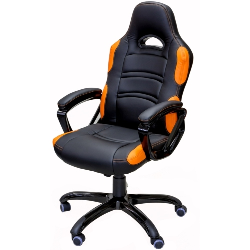 ViscoLogic Series TARCEL Gaming Racing Style Swivel Office Chair (Black & Orange)