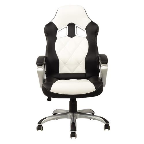 ViscoLogic Series TURBO Gaming Racing Style Swivel Office Chair YF-2710-WB (White & Black)