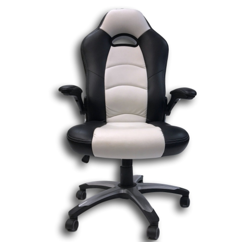 ViscoLogic Series LANCER Gaming Racing Style Swivel Office Chair YS-8703 BW (Black & White)