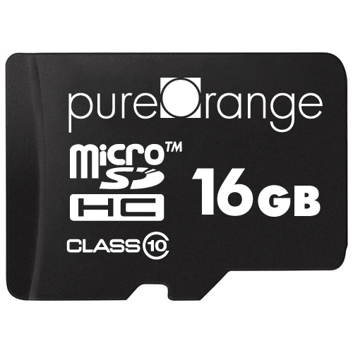 PureOrange 16GB MicroSD Card Memory Class 10 & SD Adapter [For Android and Windows Phones, Tablet, DSLR, GoPro Camera, PC]