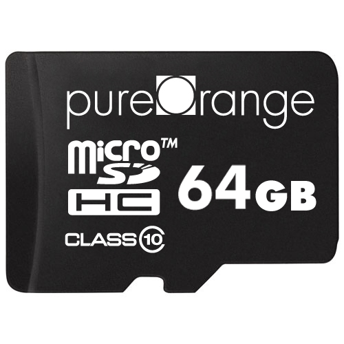 PureOrange 64GB MicroSD Card Memory Class 10 & SD Adapter [For Android and Windows Phones, Tablet, DSLR, GoPro Camera, PC]
