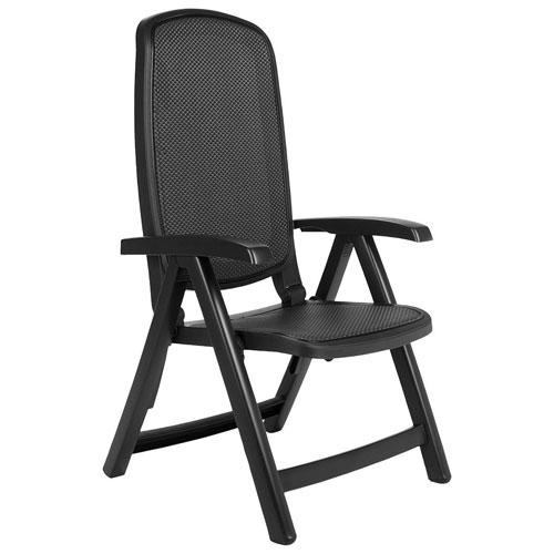 Chaise de patio repliable et inclinable au style contemporain Delta - Charbon