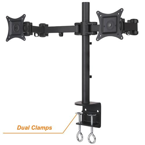 """DURAMEX Dual LCD Monitor Desk Mount Stand Fully Adjustable upto 27"""" Enforced Version dual C Clamps"""