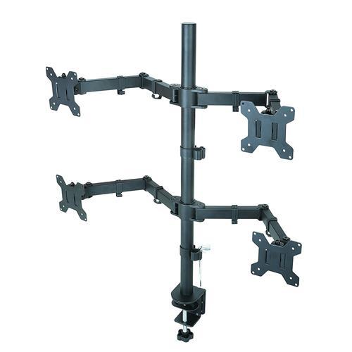 "DURAMEX (TM) Quad Four 4 LCD LED Monitors Desk Mount Stand Fully Adjustable upto 27"""