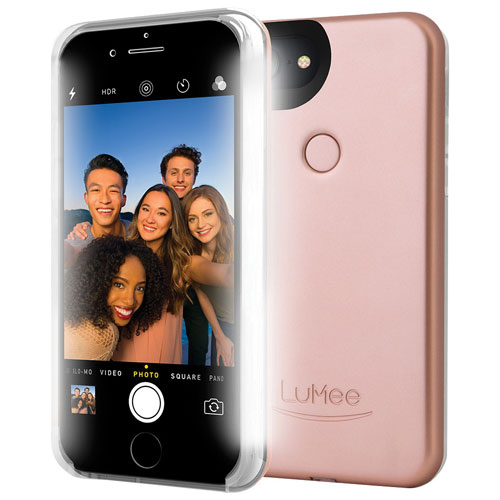 LuMee Two iPhone 8/7/6S/6 Fitted Hard Shell Case with LED - Matte Rose