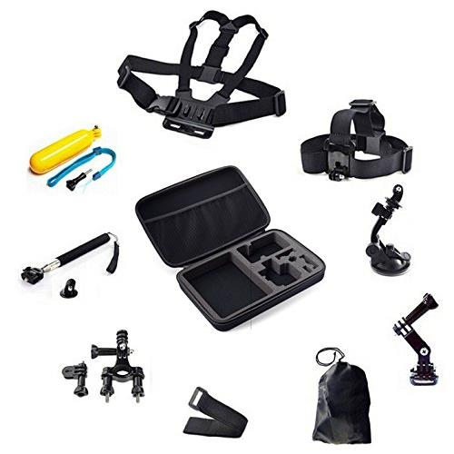 MiiU (TM) 9 in 1 Accessories Kit with Large Size Case for Action Cameras Gopro HD Hero 4/3+/3/2/1 Camera and SJCAM cameras