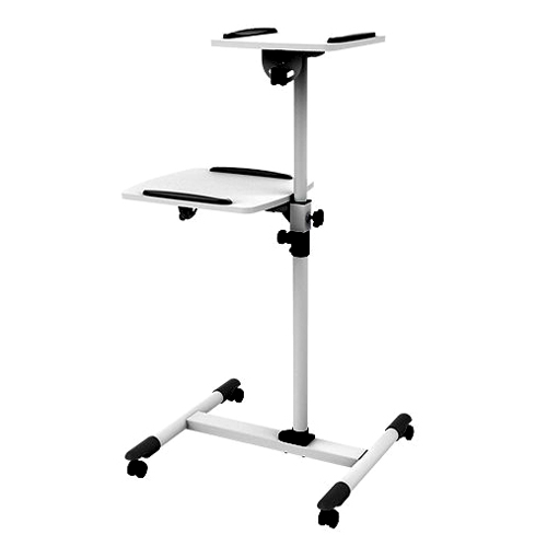 GlobalTone Projector Rolling Cart Trolley Stand with shelf for Laptop Computer White