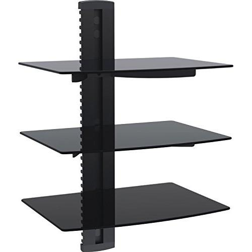 Duramex (TM) Wall Mount AV DVD Cable box, Game Console, Component Shelving System with 3 Adjustable Tempered Glass Shelf (Blac