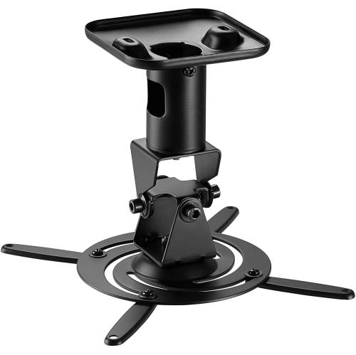 Duramex Projector Mount - Universal Ceiling Bracket LCD DLP Tilt 360° Swivel (Black Aluminum)