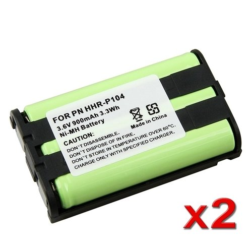 MegaPower (TM) 2x Phone Battery For Panasonic HHR-P104 HHR-P104A