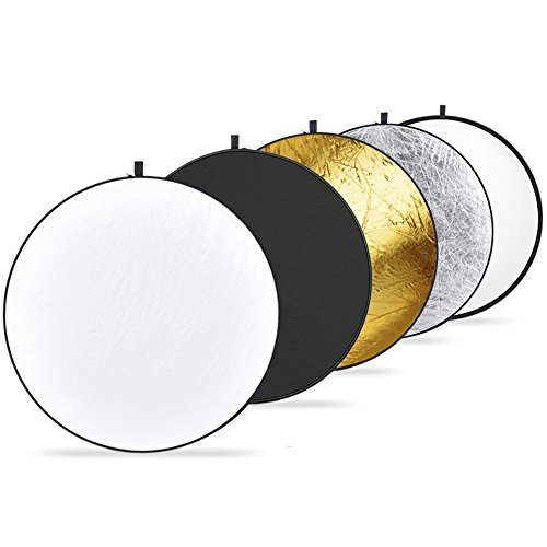 Vivider (TM) 43-inch / 110cm 5-in-1 Collapsible Multi-Disc Light Photography Reflector with Bag - Translucent, Silver, Gold, W