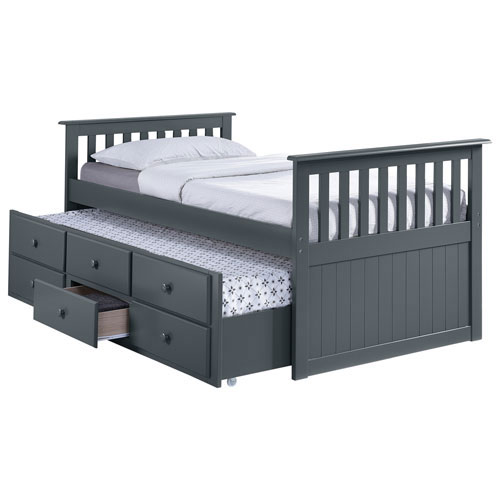 big sale 93423 04843 Marco Island Contemporary Kids Pull-Out Trundle Bed - Twin - Grey