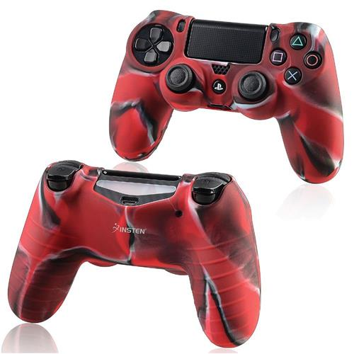 Insten For Sony PlayStation 4 Colorful Red Gel Rubber Case Cover