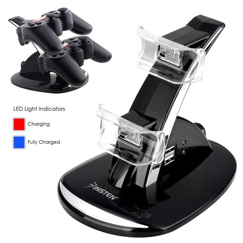 Insten Dual Charge Station with Stand compatible with PS3 Controller, Black
