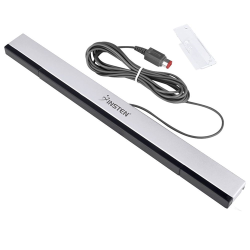 Insten Wired Sensor Bar compatible with Nintendo Wii / Wii U, Black / Silver