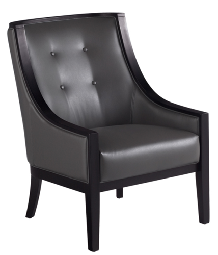 Accent Leather ArmChair in Grey