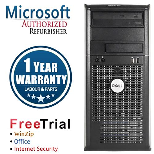 DELL 760 Tower Intel Core 2 Duo E7600 3.0 GHz , 4G DDR2 , 250G , DVD , Windows 10 Home 64 ,1 Year Warranty-Refurbished