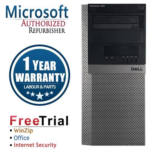 DELL 960 Tower Intel Core 2 Duo E8400 3.0 GHz , 4G DDR2 RAM , 250GB, DVDRW , Windows 10 Pro 64,1 Year Warranty-Refurbished