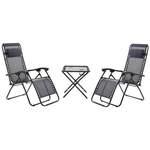 Contemporary 3 Piece Zero Gravity Patio Lounger/ Chair Set   Navy Blue :  Patio Sets   Best Buy Canada