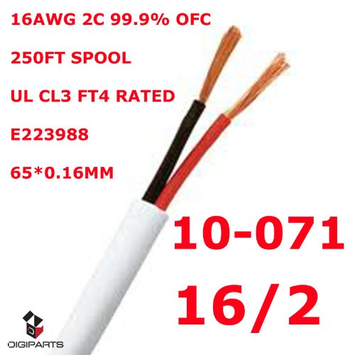 Konex (TM) 16GA 16 Gauge 2 conductors pure oxygen free copper UL CL3 Listed FT4 In wall rated speaker cable wire