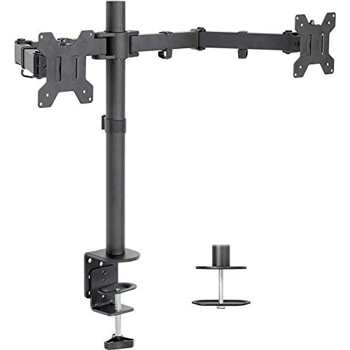 "Duramex ™ Dual Monitor Arms Fully Adjustable Desk Mount / Articulating Stand For 2 LCD Screens up to 32"" Inch"