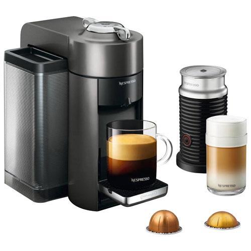 nespresso vertuo coffee expresso machine by de 39 longhi with aeroccino graphite metal. Black Bedroom Furniture Sets. Home Design Ideas