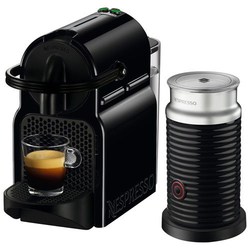 nespresso inissia coffee machine by de 39 longhi with aeroccino black espresso machines best. Black Bedroom Furniture Sets. Home Design Ideas