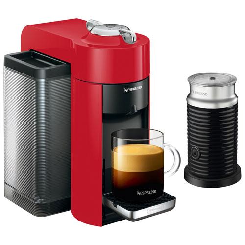 nespresso vertuo coffee expresso machine by de 39 longhi with aeroccino shiny red espresso. Black Bedroom Furniture Sets. Home Design Ideas