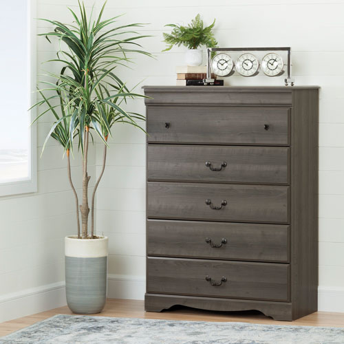 commode traditionnelle 5 tiroirs vintage rable gris commodes et chiffonniers best buy. Black Bedroom Furniture Sets. Home Design Ideas