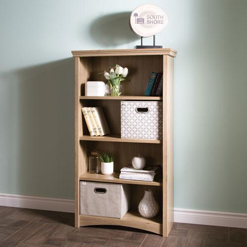 Gascony Rustic Country 4 Shelf Bookcase Rustic Oak Bookcases