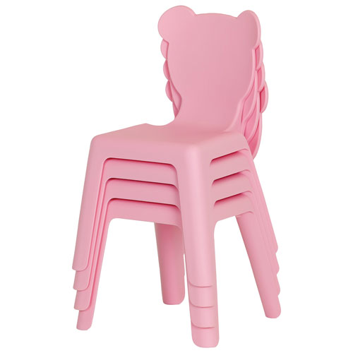 Crea Modern Kids Plastic Stacking Chairs - 4-Pack - Pink
