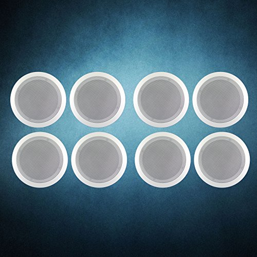 Melody (TM) 4 Pairs (8PCS) 6.5'' Two-Way CROSSOVER In Ceiling Speaker binding post
