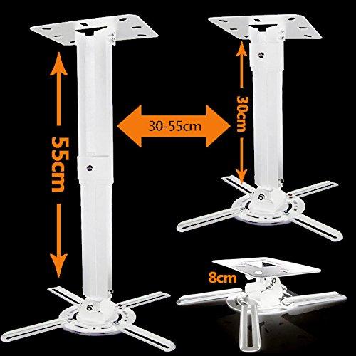 Duramex Projector Mount - Universal Ceiling Bracket LCD DLP Tilt 360? Swivel (White telescope)