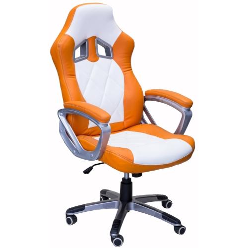 ViscoLogic Series TURBO Gaming Racing Style Swivel Office Chair YF-2710-WO (White & Orange)