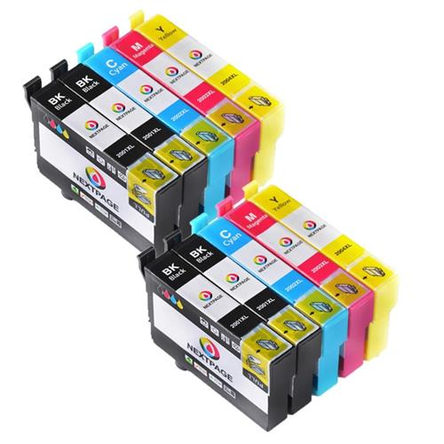 Nextpage Compatible 10 Cartridges for E- T200XL Series (4 Black T2001 , 2 Cyan T2002 , 2 Magenta T2003 , & 2 Yellow T2004) T20