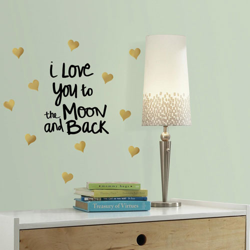 RoomMates Decor Love You To The Moon Quote Wall Decals - Gold