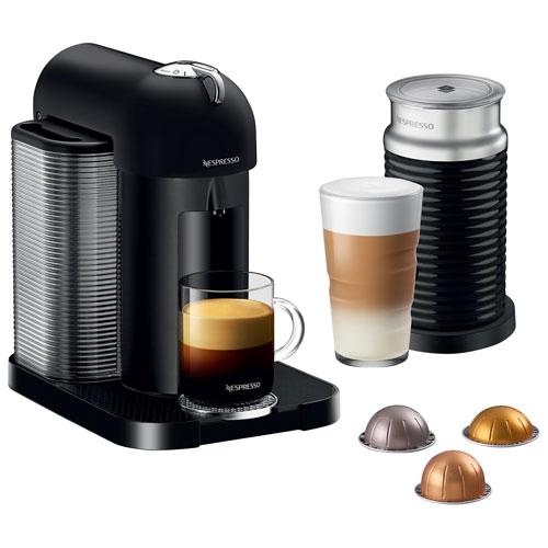 Machine à café/espresso Nespresso Vertuo par Breville avec mousseur à lait Aeroccino - Noir mat