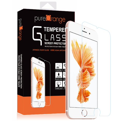 Pure Orange Tempered Glass Screen Protector - Superior 0.33mm/2.5D Japanese Asahi Glass Protector for Apple iPhone 6 and 6S