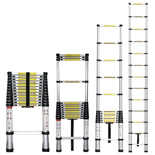 12 5 Extension Telescoping Aluminum Ladder : Stanz tm portable feet aluminum telescoping
