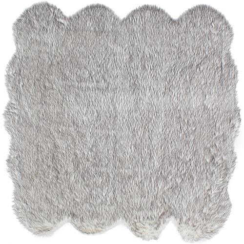 "Handmade Royale Octo Grey Tip Faux Fur Rug 5'9"" x 5'9"""