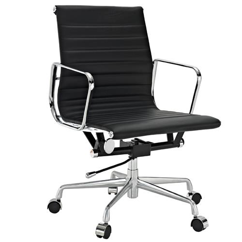Eames Group Aluminium Chair #CF-035-Low Back Office Chair- Real leather Executive Chiar Conference Chair-Black