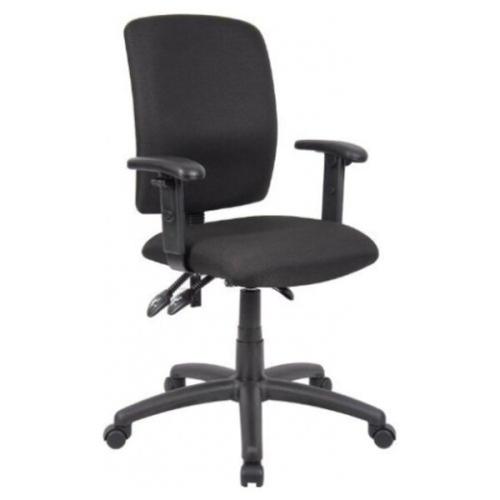 OCC Multil-Fonction Chaise de travail informatique Bureau Chaise-milieu du dos de bureau ergonomique Chair- tissu noir avec bras T réglables