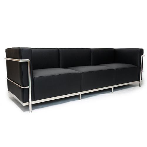 "Genuine Leather Sectional Sofa Canada: Le Corbusier Style LC3 Sofa 3 Seat,"" Black Genuine Leather"