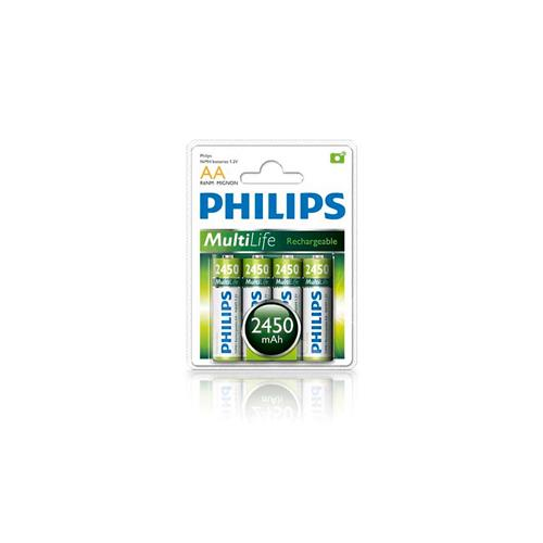 PHILIPS MULTILIFE NiMH RECHGEABLE AA BATTERIES 2450mAh 4PK CLAMSHELL