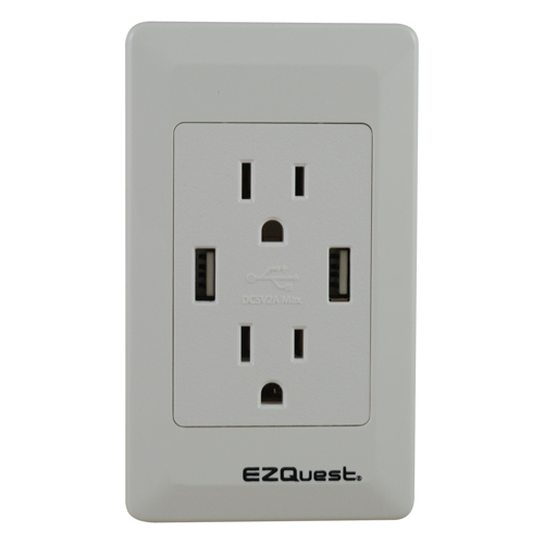 EZQuest Plug n' Charge Wall Socket 2 USB Ports/2 US Outlets, English (X73692)