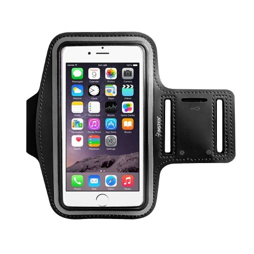 "Insten Universal Sports Armband 5.67"" x 3.14"" with Key Holder, Black"